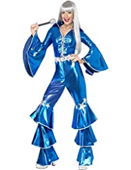 70er Jahre Kostüm für Damen blau Flower Power Hippie Dancing Queen Damenkostüm sexy groovy