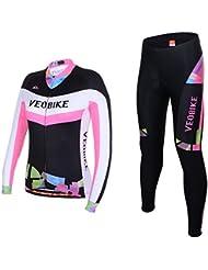 Asvert Ensemble Maillot Pantalon Cyclisme Manches Longues Respirant 4D Gel Rembourée Séchage Rapide Tenus pour Vélo VTT Femme