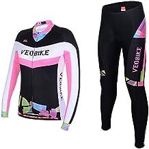 Asvert Malliots Ciclismo Mujer Largos Jersey + Pantalones + 3D cojín Transpirable y Cómodo Conjunto de Ciclista para Deporte al Aire Libre (S, Negro)