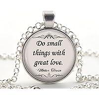 Mutter Teresa Zitat Halskette, Silber Inspirierend Zitat Anhänger, Einzigartige Schmuck Katholische Geschenk Idee für Sie