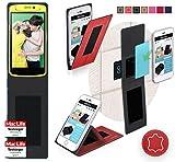 reboon Oppo N1 Mini Hülle Tasche Cover Case Bumper | Rot Leder | Testsieger
