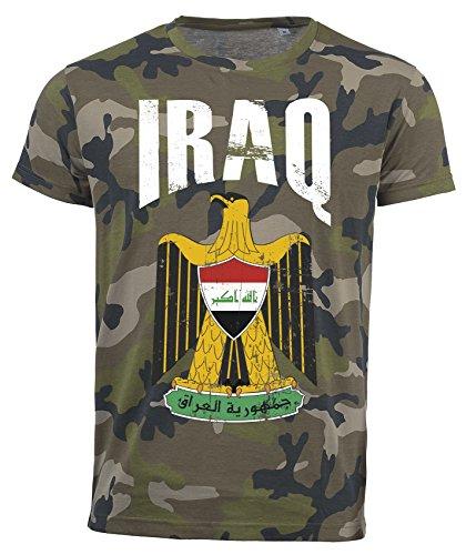 T-Shirt Irak Camouflage Army WM 2018 .- Vintage Destroy Wappen D01 (2XL)