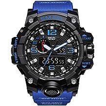 Rocita Orologi orologio sportivo multi uomini di funzione casual impermeabile da polso militari Masculino LED analogico al quarzo con batteria (nero e blu scuro)