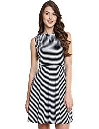 Miss Chase Women's Black and White Striped Skater Dress