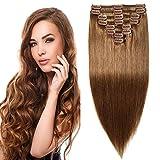 Clip in Extensions Echthaar Remy Haarverlängerung für komplette Haare 8 Tressen Doppelt Dicke 45cm-140g(#6 Mittelbraun)