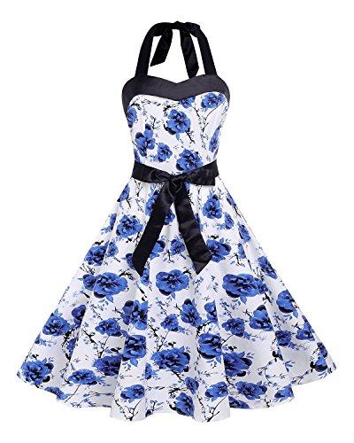 Kidsform Damen Weinlese-Kleid 1950 Classy Retro Blumenpartei-Kleid Mit Schleife XL blaue blume - Classy Brautjungfer Kleider