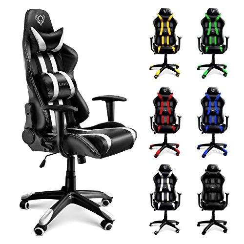 Diablo X-One Bürostuhl, Gaming Chair, Drehstuhl mit Armlehnen, Chefsessel, Gaming Stuhl, Schalensitz, Sportsitz mit Bezug aus Kunstleder (weiß/schwarz) (Büro-stuhl-armlehne-kissen)