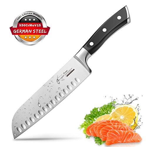 Kochmesser Santokumesser Küchenmesser 17 cm Allzweckmesser mit Ultra Scharfe Klinge Rostfreier Stahl Ergonomischer Rutschfester Griff (Schwarz)