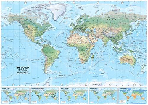I Love Maps - Physikalische Weltkarte - Papier laminiert - A0 -