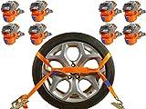 INDUSTRIE PLANET 8 x Spanngurte Autotransport 2000 daN / 2,9m / 35 mm orange Reifengurt Zurrgurte Auto Transport Radsicherung PKW Radsicherungsgurt DIN EN 12195-2
