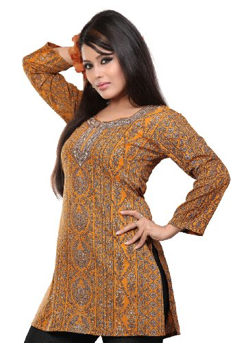 Indian Kurti Tunika Top Gedruckt Womens Bluse Indien Kleidung (Orange, L) (Shirt Kurti Tunika)