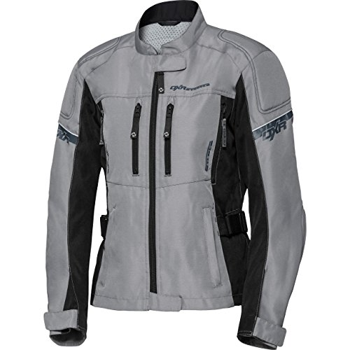 DXR Motorradjacke Damen Textiljacke, Reflexmaterial, Verbindungsreißverschluss, Bundweitenverstellung, Belüfteter Frontreißverschluss, Schulter-, Ellbogen- und Rückenprotektor-Taschen, Grau, XXL