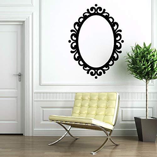 hllhpc Espejo de Vinilo Adhesivo Marco de Imagen extraíble Espejo Ovalado decoración Contempory clásico Vinilo Arte de la Pared Mural Espejo calcomanía 42 * 57 cm