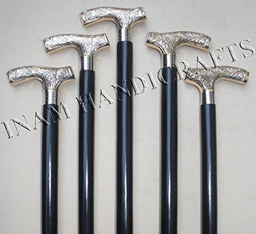 Holz-spazierstock Derby-griff Mit (Inam faltbar Gehstock Holz Sticks mit Antik Messing dekorativ und Designer Viktorianischer Derby Form Griff)
