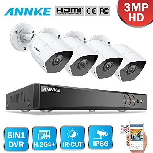 3MP Überwachungskamera System ANNKE Security System 8CH DVR ohne Festplatte und 4 Außen 3 Megapixel Metall Bullet Überwachungskamera Set für Innen und Außen Smart Search/Playback