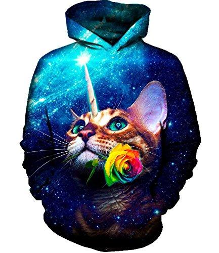 Idgreatim Unisex Kapuzenpullover mit Totenkopf-Motiv, mit Kordelzug und Taschen Gr. X-Large, Cat Galaxy