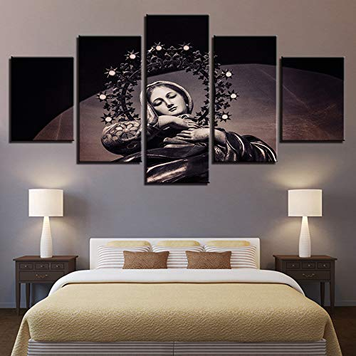 zayduo Pared Arte Pintura Pintura de la Lona Arte de la Pared Impresiones en HD Decoración para el hogar 5 Piezas Virgen María Imágenes CartelortodoxoSala de Estar