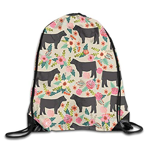 Show Steer Cows Farm Barn Florals Design Men & Women Fashion Backpacks Shoulder Bag Laptop Backpack,Sport Gym Sackpack Drawstring Backpack Bag -