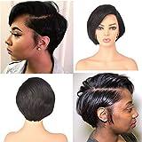 Wigreat Perruque de cheveux humains avec dentelle avant pré-coupée pour femme noire 13 x 6 cm