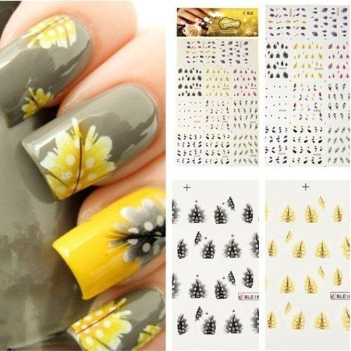 Ulooie colorful peacock feather nail art unghie adesivi