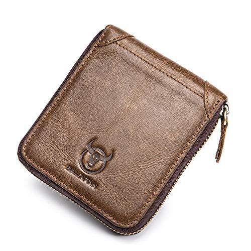 XLDN-Paket Herren Leder Geldbörse Brieftasche Retro Einfache Reißverschlusstasche Kurze Geldbörse (Color : Brown, Size : S) -