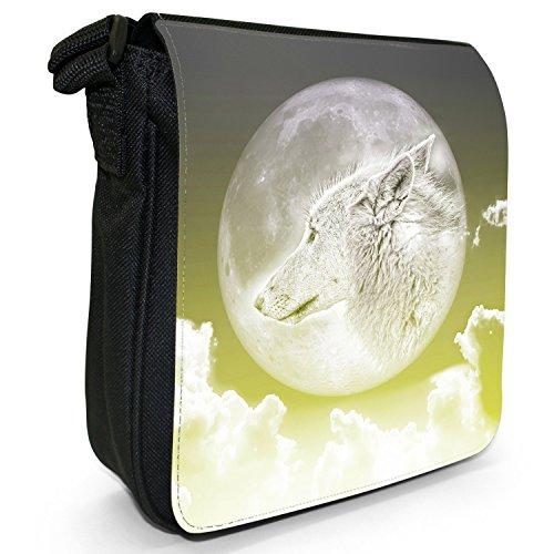 Wolf im Mondlicht Kleine Schultertasche aus schwarzem Canvas Wolf im Mondlicht - Gelb