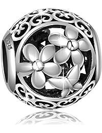 Plata de Ley 925filigrana calado mariposas y Folwers charms Bead para Europea serpiente pulseras