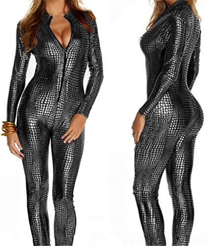 Sexy Women es Shiny Catsuit Snakeskin Pattern Unitard Faux Leder Jumpsuit Cosplay Wet Look Catsuit Ladies Girl Bodysuit Faux Leder Cosplay Sexy Party ()