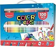 Maped Color'Peps Kit de Coloriage 100 pcs - 36 Crayons de Couleur, 36 Feutres Lavables, 24 Craies, 1 Feutr