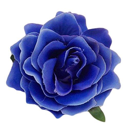 2PCS dames élégants fleur rose pin pin cheveux clip décoration, Bleu