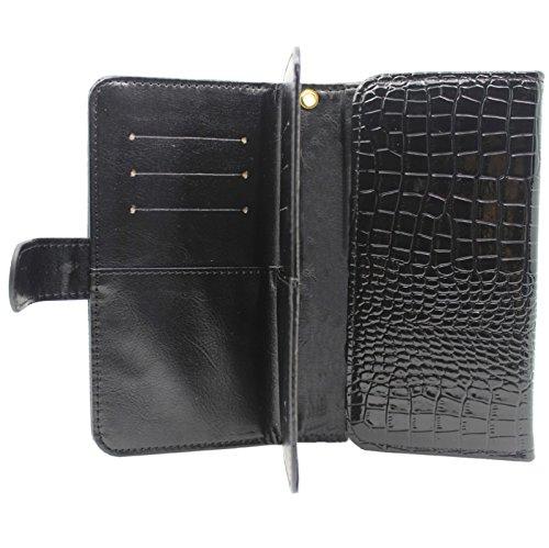 Pour iPhone 6 Plus et 6S Plus et Samsung Galaxy S6 Edge / G925, 6,0 pouces Étuis de transport universels Crazy Crocodile Texture avec embouts pour portefeuille et carte et cordon JING ( Color : Black  Black