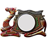 "D'Dass 18"" Wooden Camel Wall Mirror / Wall Decorative/Mirror For Wall / Hanging Mirror / Painted Mirror / Ddass Mirror / Small Mirror By D'Dass/Wall Mirror For Living Room/Bathroom Mirror/Ganesh Chaturthi Festival/Navratri Diwali Festival Gift"