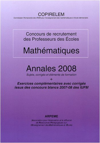 Mathématiques CRPE : Annales 2008