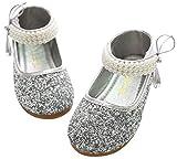 Mädchen Mary Jane Halbschuhe Prinzessin Paillette Ballerina mit Perlen Riemchen Klettverschluss Festliche Glitzer Schuhe - Silber Größe 28