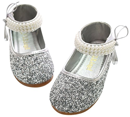 BoBo Angel Mädchen Mary Jane Halbschuhe Prinzessin Paillette Ballerina mit Perlen Riemchen Klettverschluss Festliche Glitzer Schuhe - Silber Größe 32