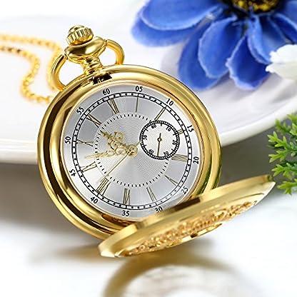 JewelryWe-Retro-Taschenuhr-Golden-Gehuse-Hohle-Blumen-Muster-Herren-Damen-Analog-Quarz-Uhr-Kettenuhr-mit-Halskette-Kette-Pocket-Watch-Geschenk