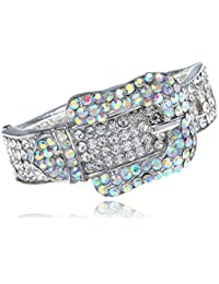 6c696ed08fff Argenté strass-Aurore boréale cristal Boucle de Ceinture Bracelet jonc