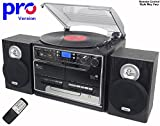 Steepletone BT-SMC386r PRO, 8 in 1 Bluetooth Retro Nostalgic Music System (Stereo Speakers), Remote Control, 3 Speed Record Player, CD Player, FM/MW Radio, TWIN Cassette, SD/USB RECORDING – Black