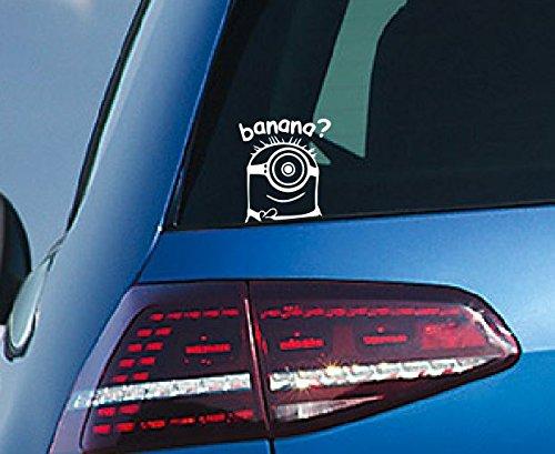 Pegatina, diseño de los Minions Etiqueta adhesiva para vehículos, color blanco.