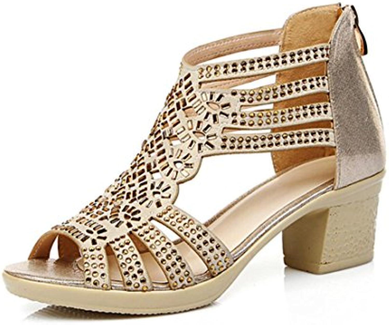 Scarpe da Donna in Pelle Sandali Comfort in in in Pelle Chunky Heel Open Toe scarpe per Party & Evening Dimensione 35-40 | Il colore è molto evidente  39504b