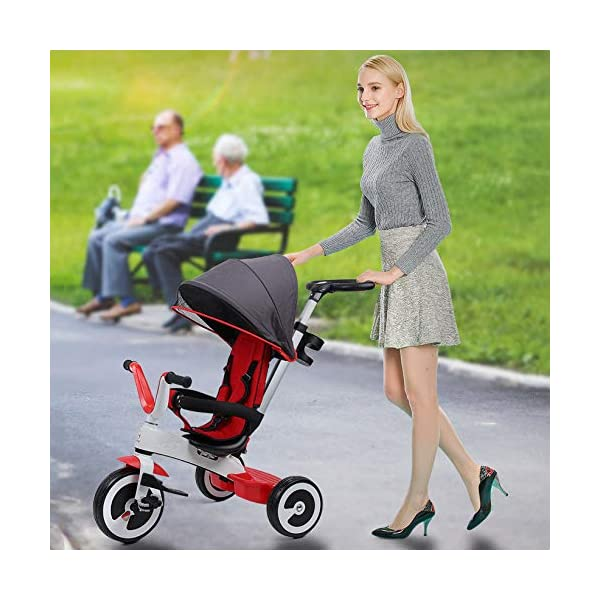 BGHKFF 3 In 1 Childrens Tricycles 1 To 6 Years Light And Sturdy Kids Tricycle 3-Point Safety Belt Folding Sun Canopy Handlebar Child Trike Maximum Weight 25 Kg,Red BGHKFF ★Material: Magnesium alloy one frame, suitable for children from 1 to 6 years old, the maximum weight is 25 kg ★ 3-in-1 multi-function: convertible into stroller and tricycle. Remove the hand putter and awning as a tricycle. ★Safety design: 3-point seat belt, front wheel clutch, safer on the way, rear wheel brake, lock rear wheel, built-in steering link 1