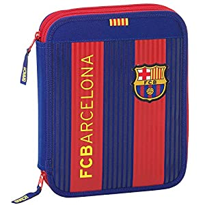 Futbol Club Barcelona- FC Barcelona Plumier Doble Grande 56 Piezas, Color Azul/Granate, 25 cm (SAFTA 411629056)