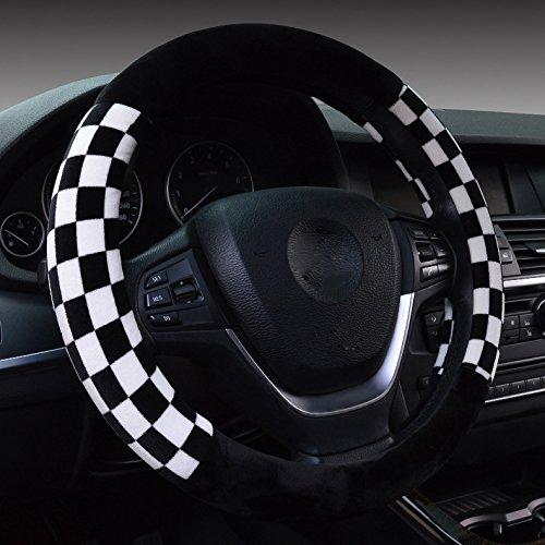 Hivel Winter Gitter Plusch Lenkradbezug Weich Warm Lenkradhulle Universal Anti Rutsch Lenkradschoner Fahrzeug Auto Lenkradabdeckung Vehicle Car Steering Wheel Cover 38cm - WeiB