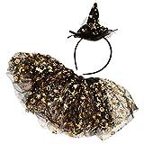 KODORIA Halloween-Tutu-Rock, Ballettkleid, Tutu, Rock mit Stirnband, Mädchen, Prinzessinnenrock, Halloween-Kostüme, goldfarben