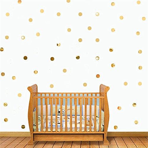100 unds pegatinas pared espejo circulos dorados 2 cm para dormitorios infantiles salon hall de OPEN BUY