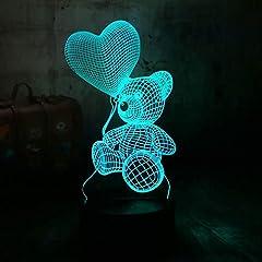 Idea Regalo - Luce Notturna 3D Lampada Carino Nuovo Orsetto Tenere Amore Cuore Palloncino 7 Cambiamento Di Colore Da Tavolo Luce Notturna Decor Regalo Di Festa Per Bambini Lxkem