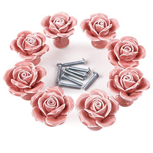 8er Design Pink Rose Porzellan Möbelknopf Möbelknöpfe Möbelgriffe Möbelknauf Griff Knopf Schrankgriff Dekoraktion (Rose Möbelknöpfe)