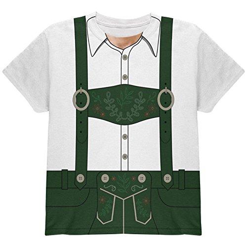 Halloween-Lederhose Jodeln Jodler Kostüm Schweizer Allover-Jugend T Shirt Multi (Kostüm Jodler)
