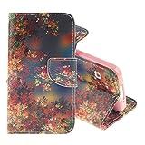 Pridot Retro Stil Schutzhülle für Samsung Galaxy S5 Hülle Hohe Qualität PU Tasche Flip Wallet Case mit Kartenfach & Magnetverschluss - Sonnenuntergang