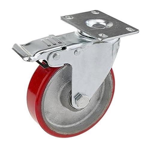 Cablematic - Roulettes pivotantes roue industrielle en polyuréthane et métal avec frein 125 mm
